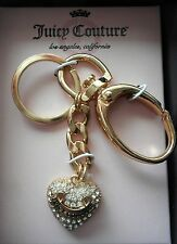 New Juicy Couture Heart Charm Key Chain Ring Fob Gold Tone New in Box