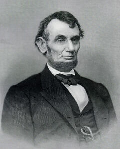 Isolated 16th President ABRAHAM LINCOLN engraving by A.B. Hall, Jr. sculptor