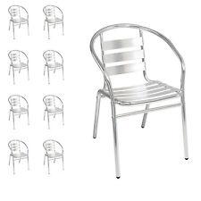 9 Stück Mojawo® stabile Aluminium Stapelstuhl Bistrostuhl Gartenstuhl stapelbar