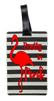 Red Flamingo Airline Travel Luggage Tag Cruise Ship Silicone Rubber Bag Name