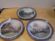 "set of 3 collectible ""peaceful retreat"" series plates by thomas kinkade"