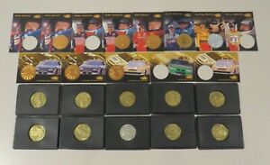 Lot of 10 - 1997 Pinnacle Mini Collection Coins  NASCAR silver gold plus13 cards