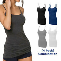 [4 pack] Women Long Cami Tank Tops COTTON Blend Fit Basic Camisole Top W/ Straps