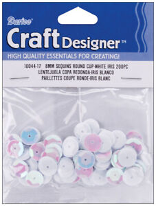 Cupped Sequins White Iridescent 8Mm200Pkg