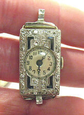 VICTORIAN 18K WHITE GOLD DIAMOND SAPPHIRE WRISTWATCH 12.2 GRAMS WORKING