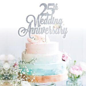 Custom Cake Topper 25th wedding anniversary Glitter Personalised Customised Name