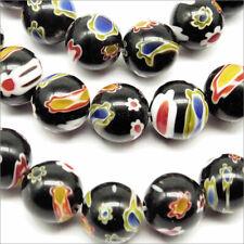 Lot de 20 Glass Beads Millefiori 10mm Black