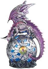 8.25 Inch Dragon on Light Up LED Orb Statue Purple Fantasy Decor Mythical