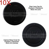 10x Micro 4/3 Camera Body Cover + Rear Cap for Panasonic H-F H-ES series Lens
