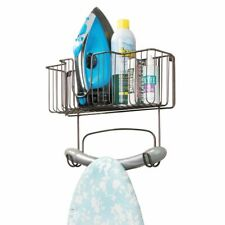 mDesign Metal Wall Mount Ironing Board Holder with Large Storage Basket - Bronze