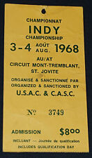 1968 SPORTS CARS RACING INDY CHAMPIONSHIP MONT-TREMBLANT, ST JOVITE PRESS TICKET