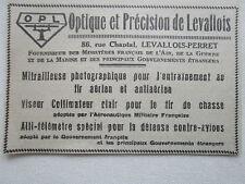 1935-40 PUB OPTIQUE PRECISION LEVALLOIS PERRET VISEUR COLLIMATEUR TELEMETRE AD