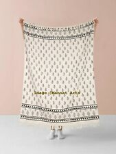 Turkish Throw Blanket, Hand woven Tassels Bed Cover, 100% Cotton Throw Blanket