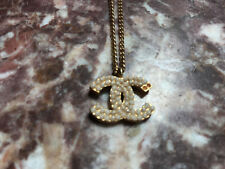 Authentic CHANEL faux pearl logo gold CC necklace pendant charm-RARE-$2000