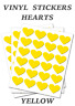 Yellow Heart Stickers (20mm) Self Adhesive Waterproof Vinyl Labels pack of 100