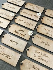wooden tags craft diy personalised gift merry chrtismas  love from rustic gift