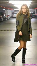 ZARA GREEN OLIVE FAUX LEATHER DRESS SIZE S UK 8
