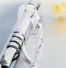 Fashion Women 925 Sterling Silver Charm Chain Bangle Bracelet Jewelry Xmas Gift
