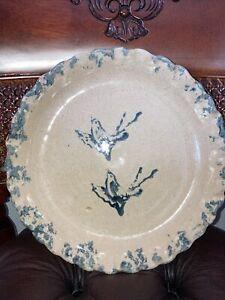 Antique ByBee Cornelison Pottery Plate Blue Birds Sponge BB Kentucky Pottery