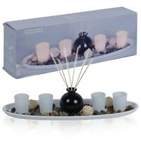 6 Piece Tealight Holder Aroma Fragrance Reed Diffuser & Tray Home Decor Gift Set