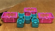 Lot Of Shopkins Accessories 3 Pink & Teal Shopping Baskets & 5 Mini Bags
