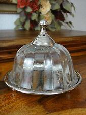 Käseglocke Butterdose Luxus Dose Glas Silber Antik Jugendstil Edel Tablett NEU