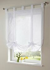 Uphome 1pcs Cute Bowknot Tie-Up Roman Curtain - Tab Top Sheer Kitchen Balloon Wi