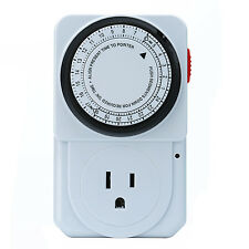 US Plug Timer Socket Plug 3 Prong Outlet Indoor 24 Hours Heavy Duty Programmable