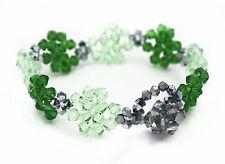 Handmade Beaded Green Clover Bracelet/Non-tarnishing Beads/St. Patrick's Day