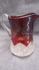 1905 EAPG Pattern Glass Ruby Stain Heart Band Souvenir Atlantic City NJ Creamer