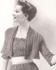Vintage Knitting PATTERN to make Lace Dress Sheath Bolero Shortie Jacket LaceJac
