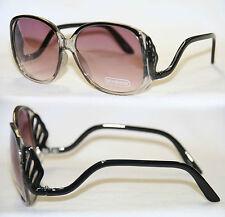 Boho Sonnenbrille Oversize Sunglasses lila clear Fächer Damen 70er Jahre 151
