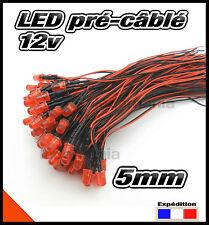 C445DR# LED 5mm 12v pré-câblé rouge diffusante 5 à 100pcs - pre wired LED red