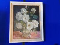 Harry Freckleton ( 1890 - 1979) Framed Still Life Roses Signed and dated 1969