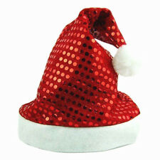 NEW RED ADULT SHINY SEQUIN  HAT  FATHER CHRISTMAS SANTA XMAS UNISEX FANCY DRESS