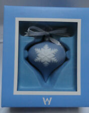Wedgwood Blue & White Christmas Ornament Teardrop Jasperware Snowflake Free Ship