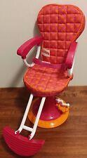 "Girl Friends 18"" Doll Salon Chair Pink and Orange Polka Dot Adjustable EUC"