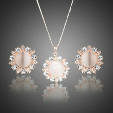Nude Pink Simulated Opal CZ Rhinestones Pendant Necklace Earrings Jewellery Set