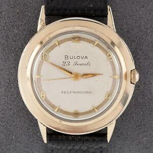 Bulova 10k Rolled Gold Plate Self-Winding Men's Watch w/ Black Leather Band