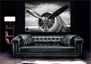 Airplane Retro Aircraft Plane Propeller Art Canvas Poster Print Home Wall Decor