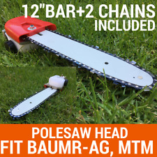 "Chainsaw Attachment W/12"" Bar+2chain For Pole Chain Saw Pruner Fit Baumr-AG, MTM"