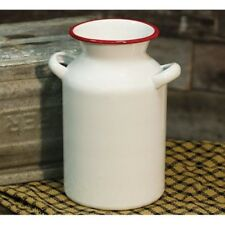 "Farmhouse White Enamel Milk Can Vintage Style Country Cottage Chic Vase 8"" Tall"