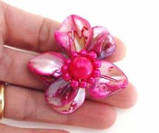 LOVELY MODERN PINK DYED SHELL BIG FLOWER RING
