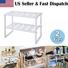 2 Tier Under Sink Expandable Shelf Organizer Rack Storage Tool Shelf Adjustable