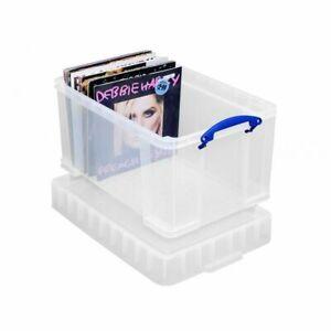 1 x Really Useful Clear Plastic Storage Box 48 Litre XL - LP Record Album Box