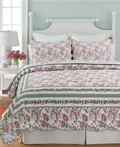 Rose Bush 100% Cotton Full/Queen-Size Quilt Set, Bedspread, Coverlet