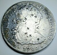 1788 Chopmarks Spanish Mexico Silver 8 Reales Colonial Dollar Counterstamp Coin
