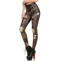 Retro Style Steampunk Legging Women Low Waist Mechanical Gear 3d Print Cosplay
