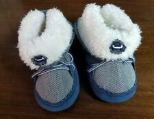 INFANT BOYS FUZZY LINED DENIM SHOES WITH LACES