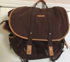 New BODHI Brown Canvas and Leather Fold Over Backpack  $238 Retail